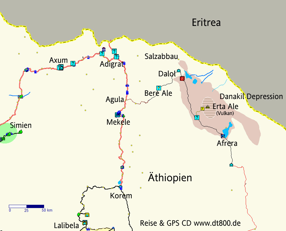 Erta Ale volcano, Ethiopia - situation map