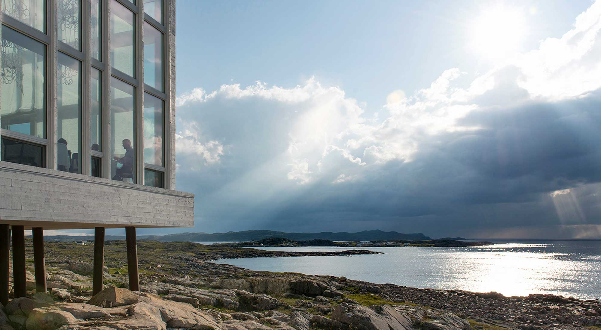 Fogo Island Inn dining in front of ocean
