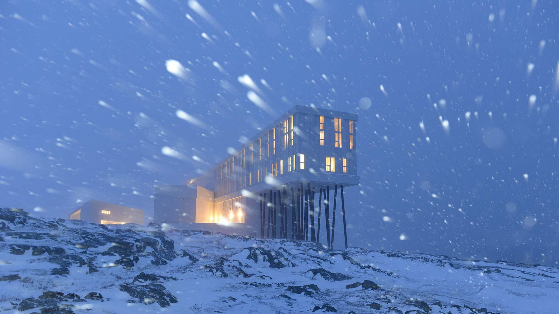 Fogo Island Inn in winter