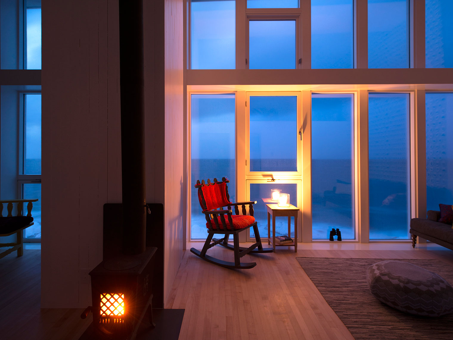 Fogo Island Inn suite fireplace