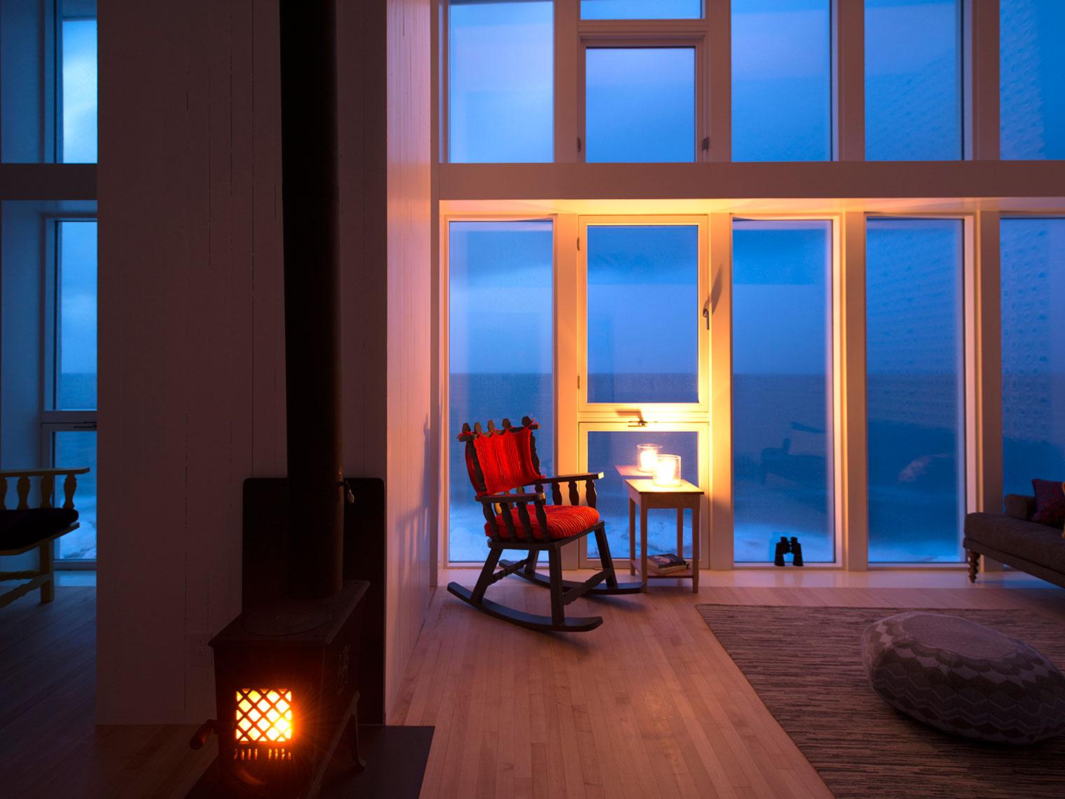 Fogo Island Inn suite fireplace