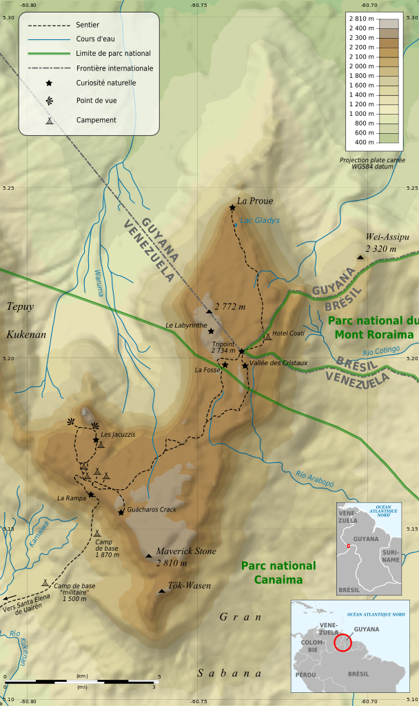 Mount Roraima, Venezuela topographic map