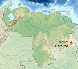 Mount Roraima location map, Venezuela