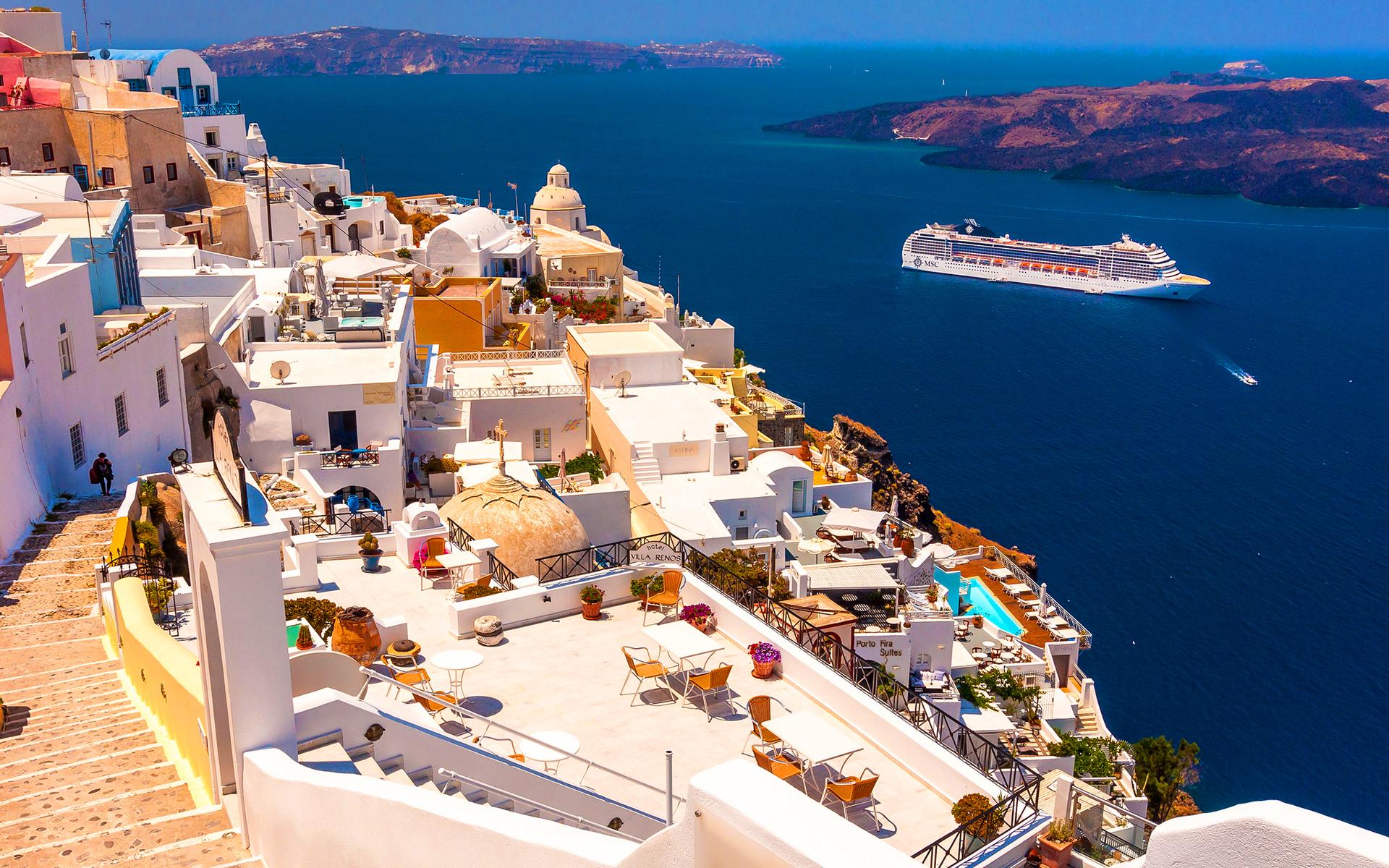 Santorini cruising ship