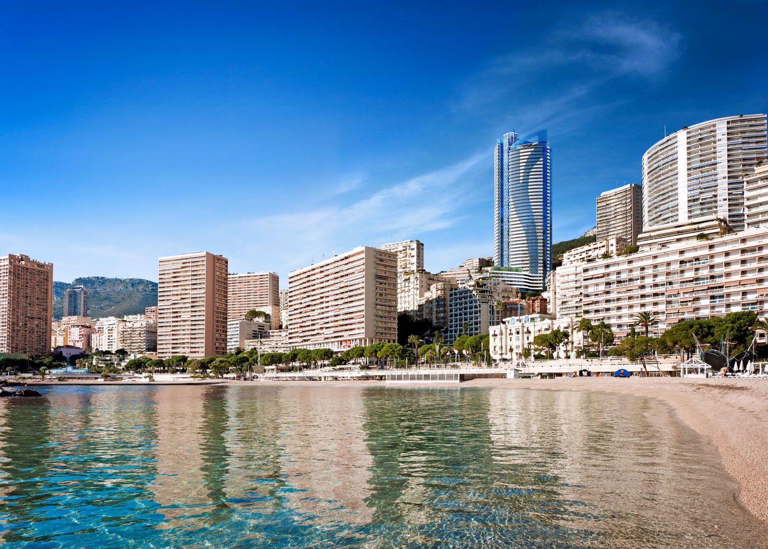 Tour Odéon view from beach, Monaco