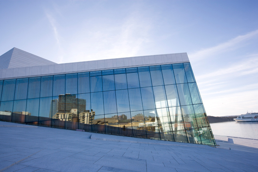 Oslo Opera House glass facade detail - Snohetta
