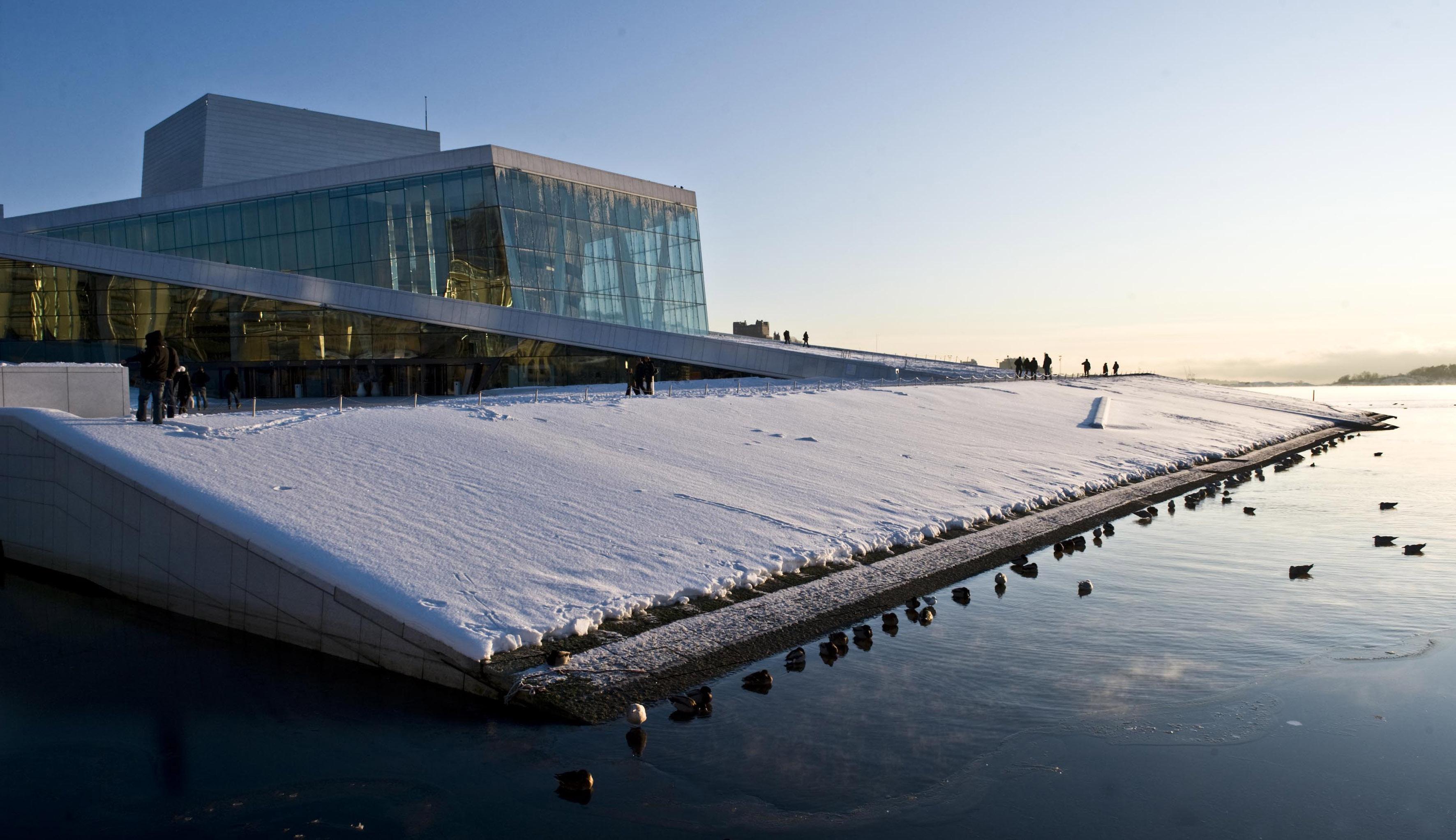 Oslo Opera House in winter