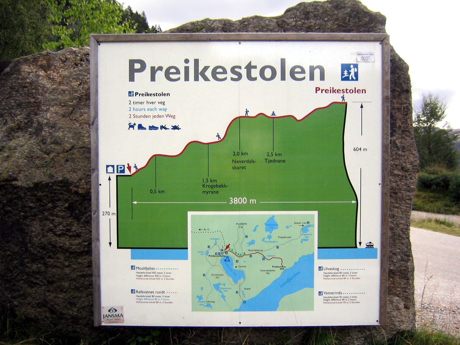 Preikestolen hiking map, Norway