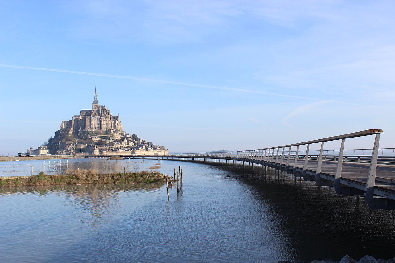 Mont Saint-Michel with the access bridge