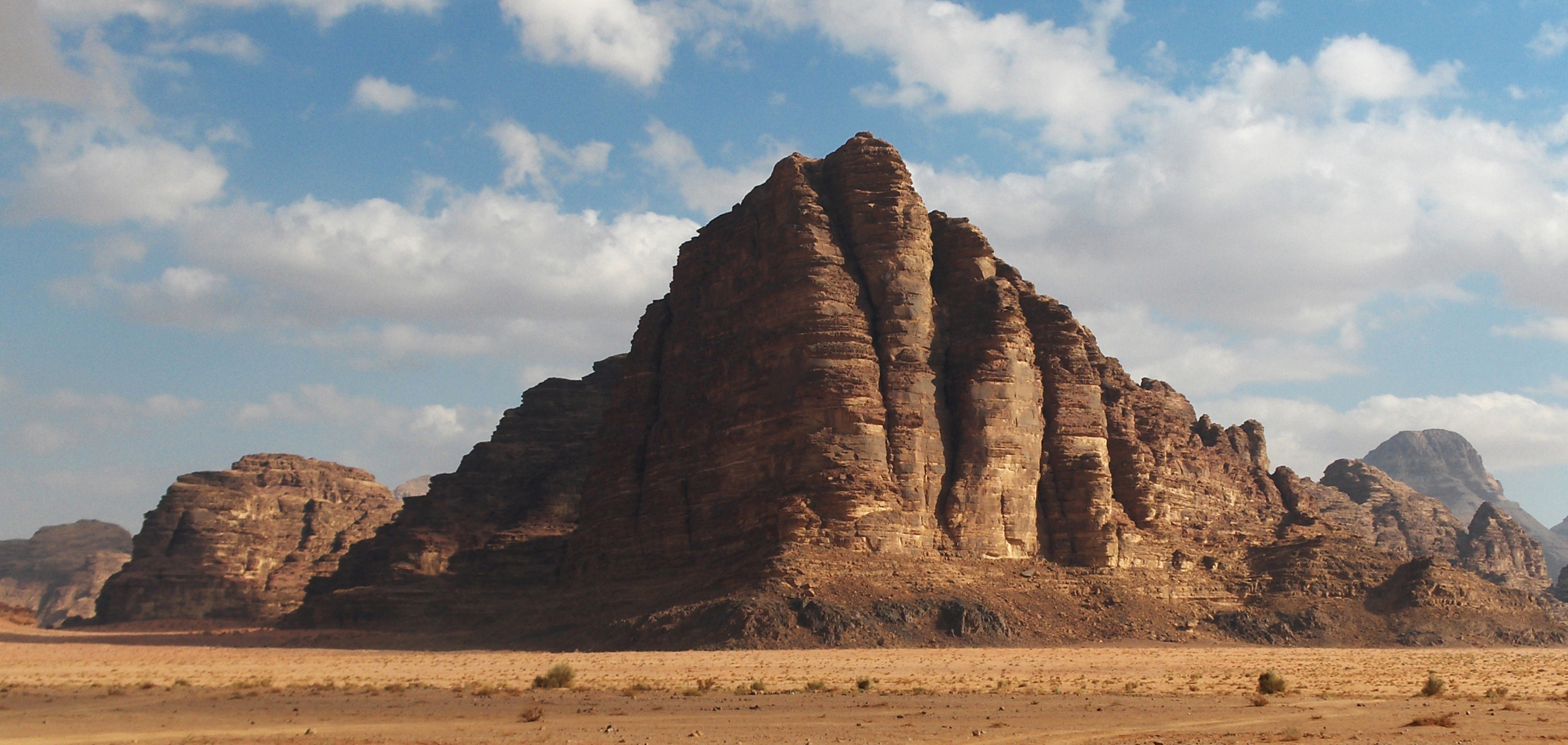 Seven Pillars of Wisdom rock formation in Wadi Rum, Jordan